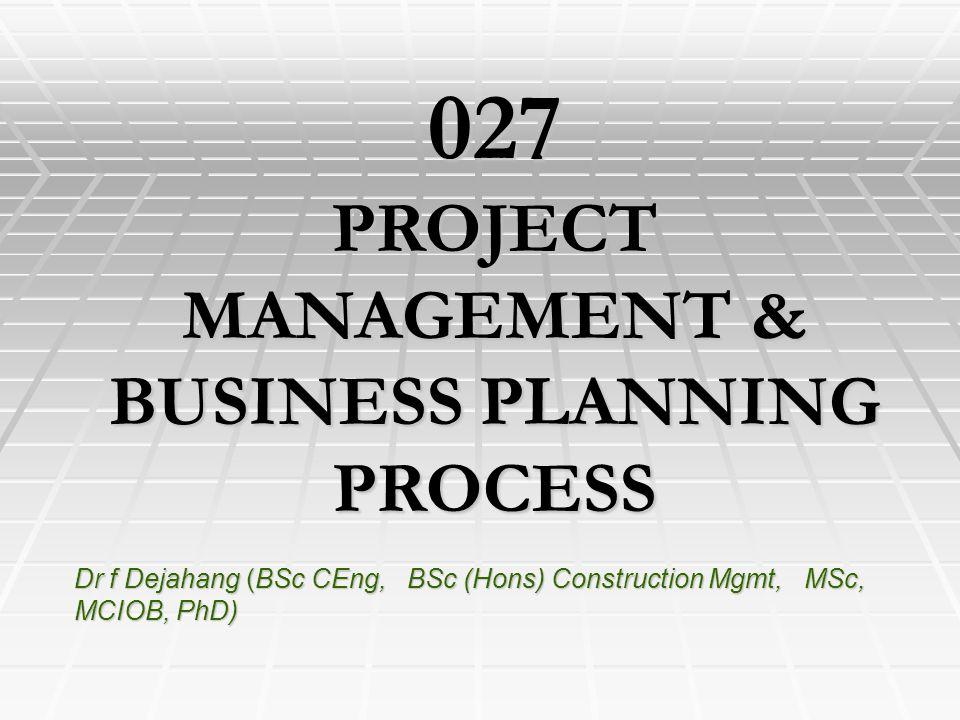PROJECT MANAGEMENT & BUSINESS PLANNING PROCESS
