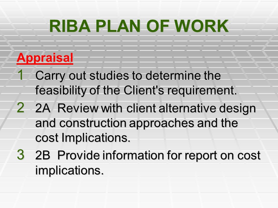 RIBA PLAN OF WORK Appraisal