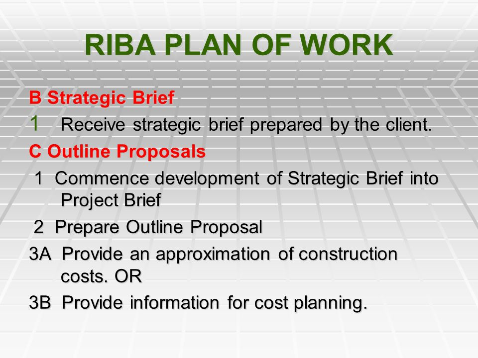 RIBA PLAN OF WORK B Strategic Brief