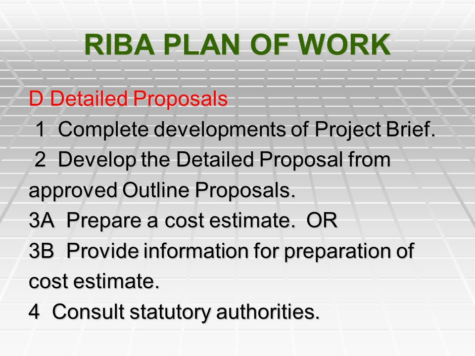 RIBA PLAN OF WORK D Detailed Proposals