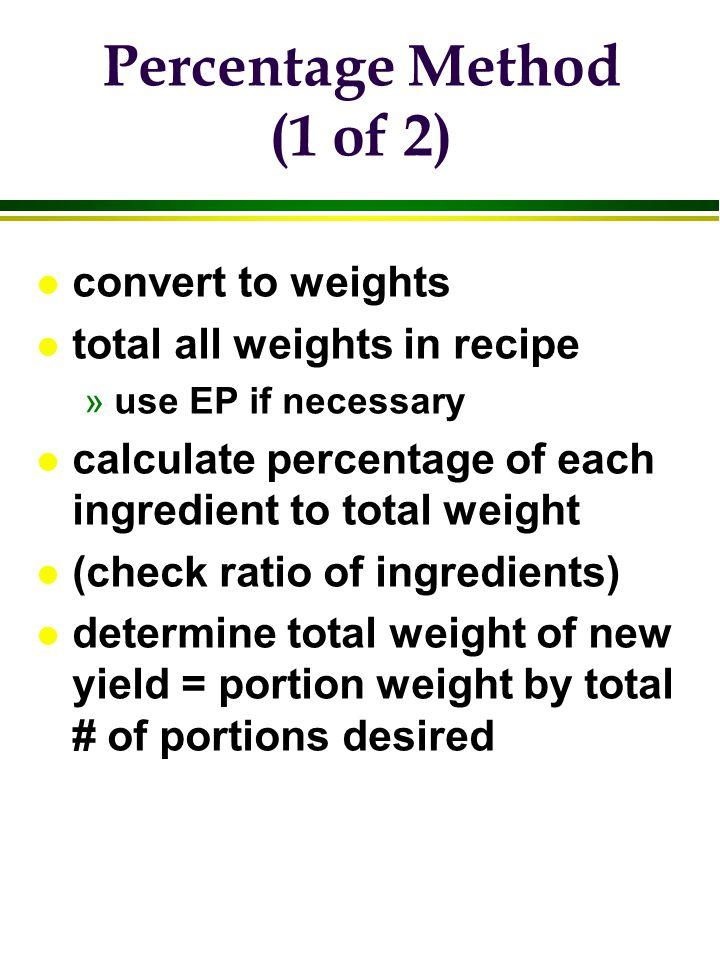 Percentage Method (1 of 2)