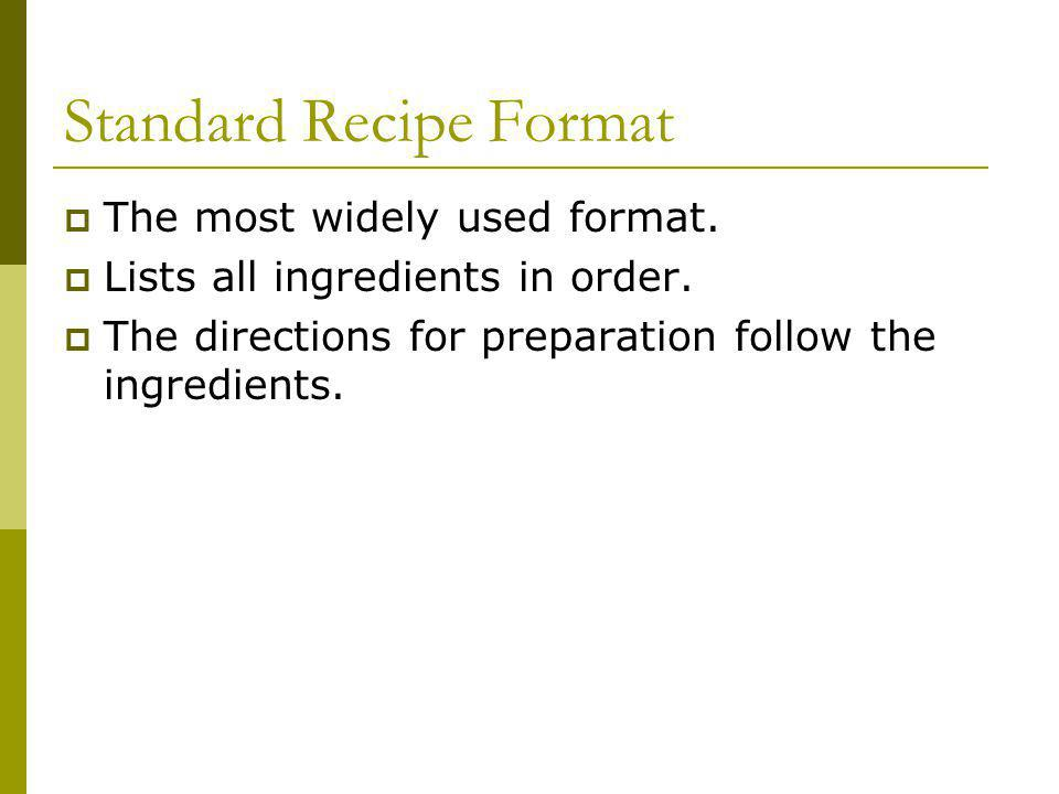 Standard Recipe Format