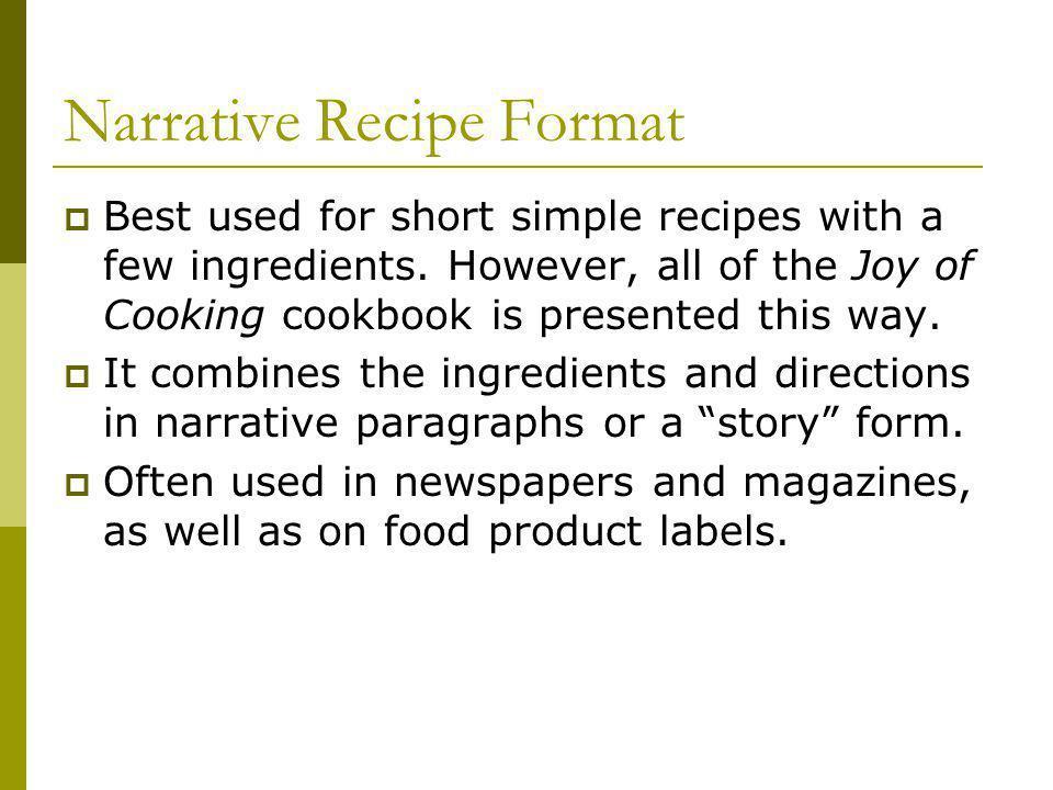 Narrative Recipe Format