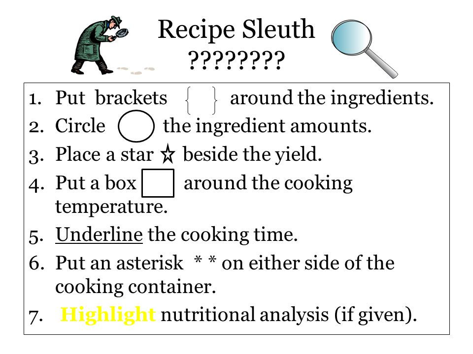 Recipe Sleuth Put brackets around the ingredients.