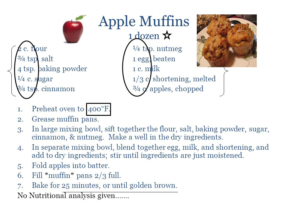 Apple Muffins 1 dozen 2 c. flour ¼ tsp. nutmeg