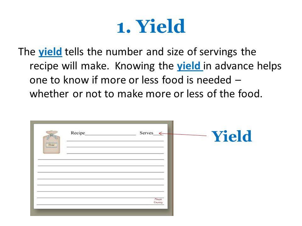 1. Yield