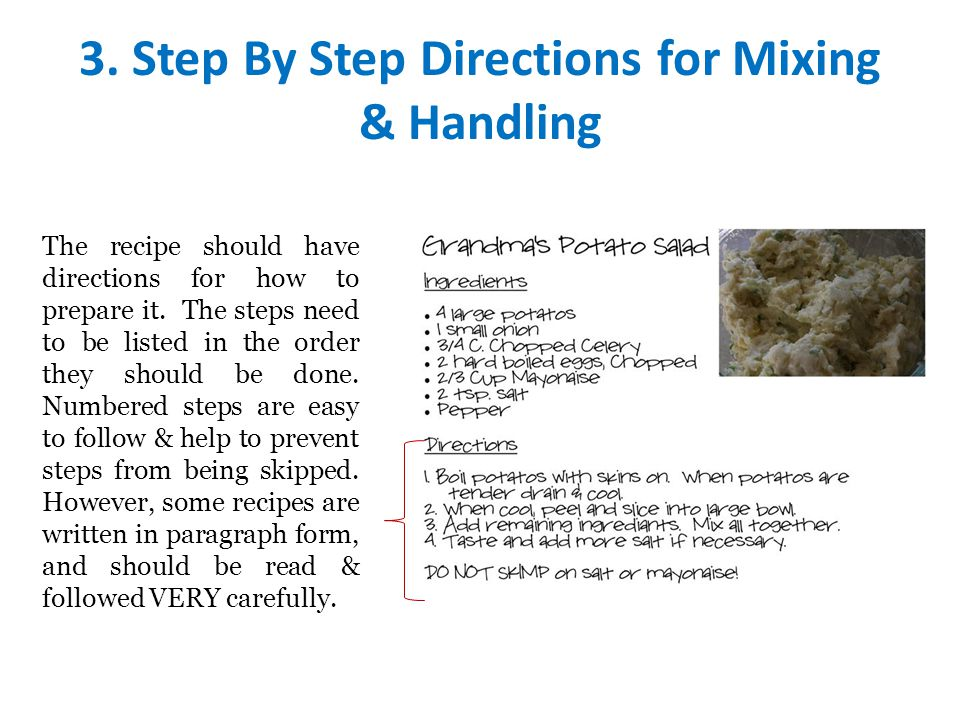 3. Step By Step Directions for Mixing & Handling