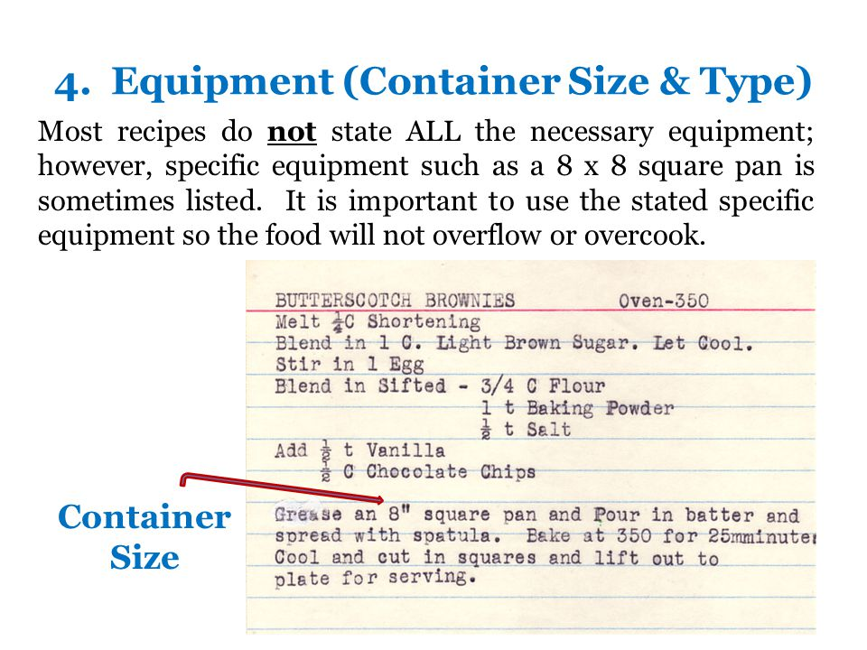 4. Equipment (Container Size & Type)