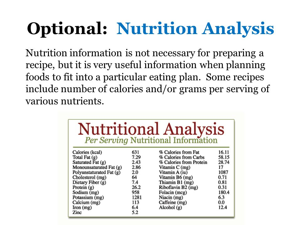 Optional: Nutrition Analysis