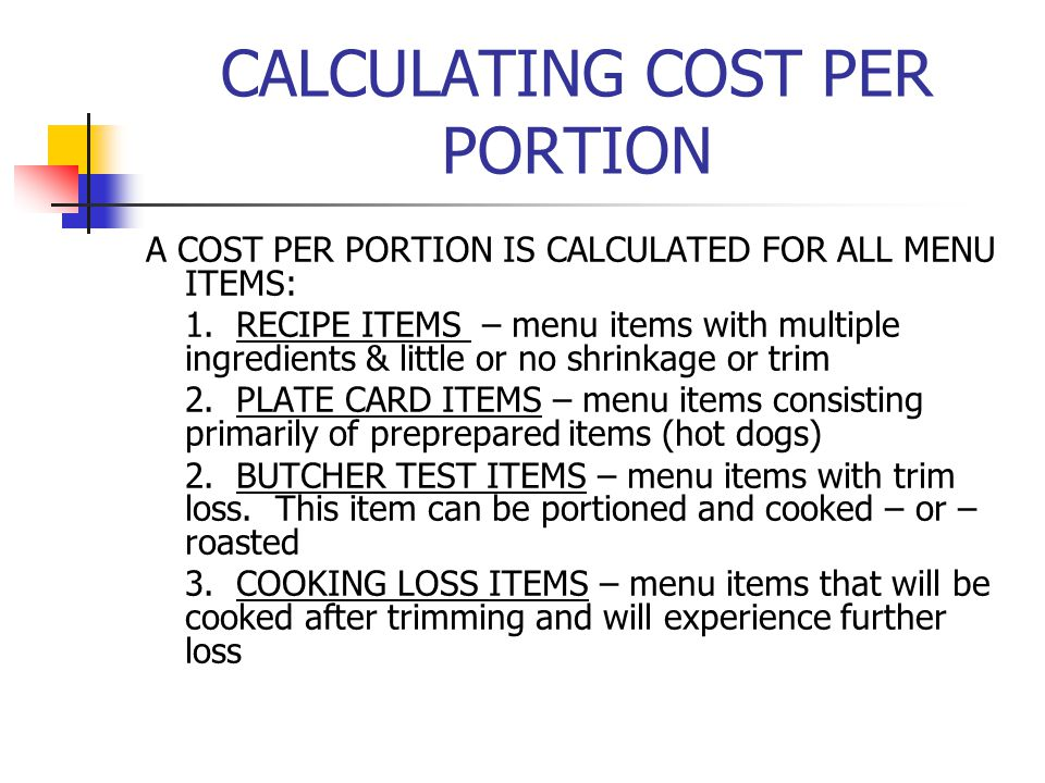 CALCULATING COST PER PORTION