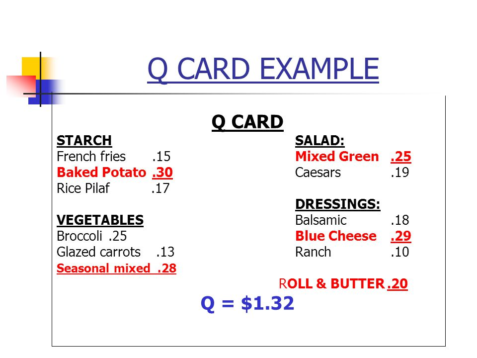 Q CARD EXAMPLE Q CARD Q = $1.32 STARCH SALAD: