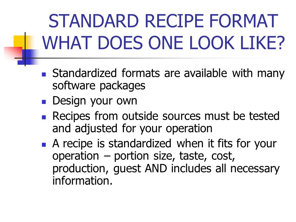 STANDARD RECIPE FORMAT WHAT DOES ONE LOOK LIKE