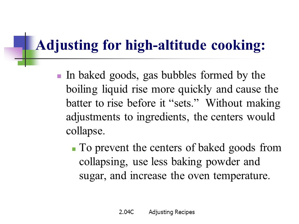 Adjusting for high-altitude cooking: