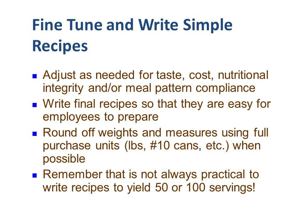Fine Tune and Write Simple Recipes