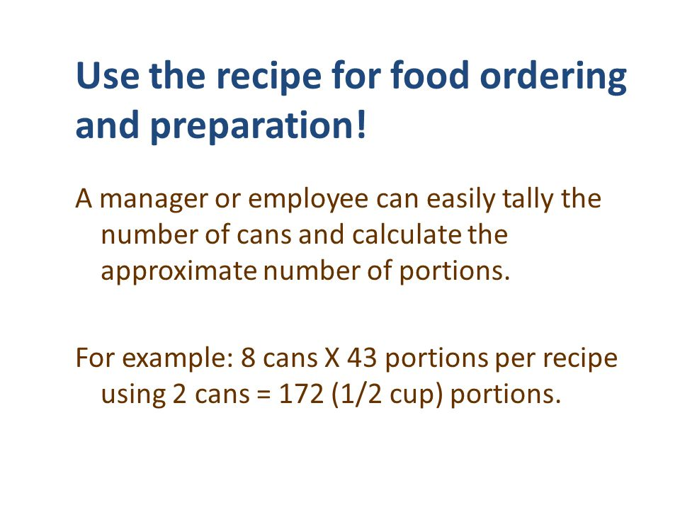 Use the recipe for food ordering and preparation!