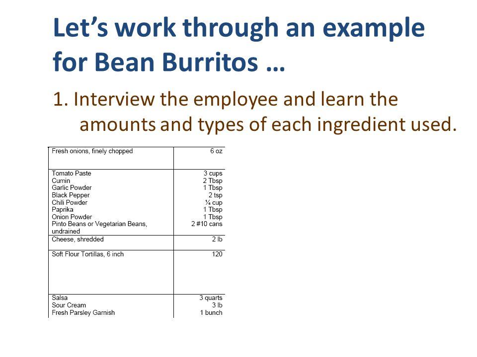 Let's work through an example for Bean Burritos …