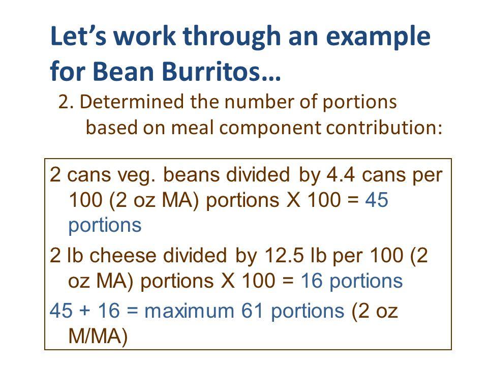 Let's work through an example for Bean Burritos…