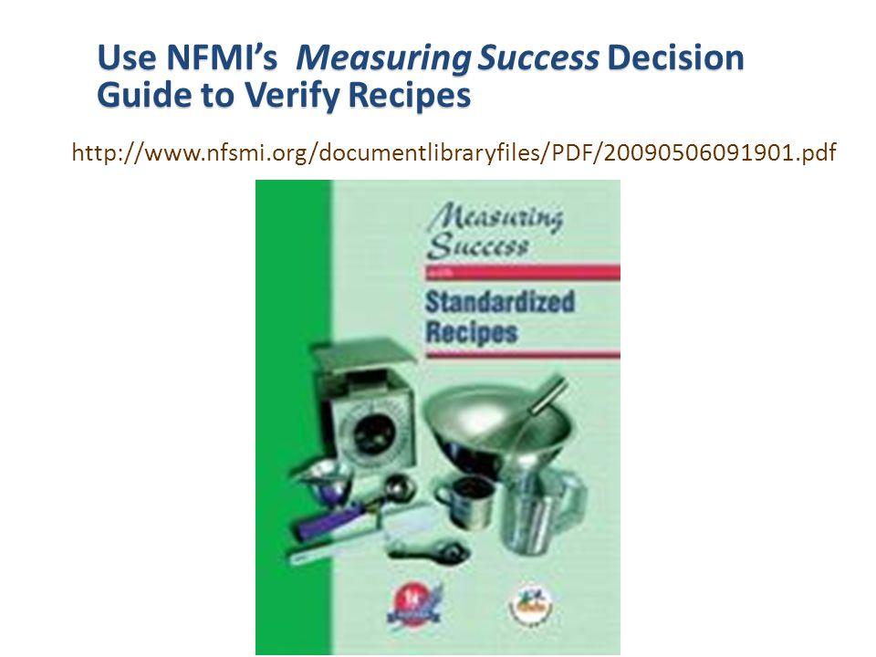 Use NFMI's Measuring Success Decision Guide to Verify Recipes