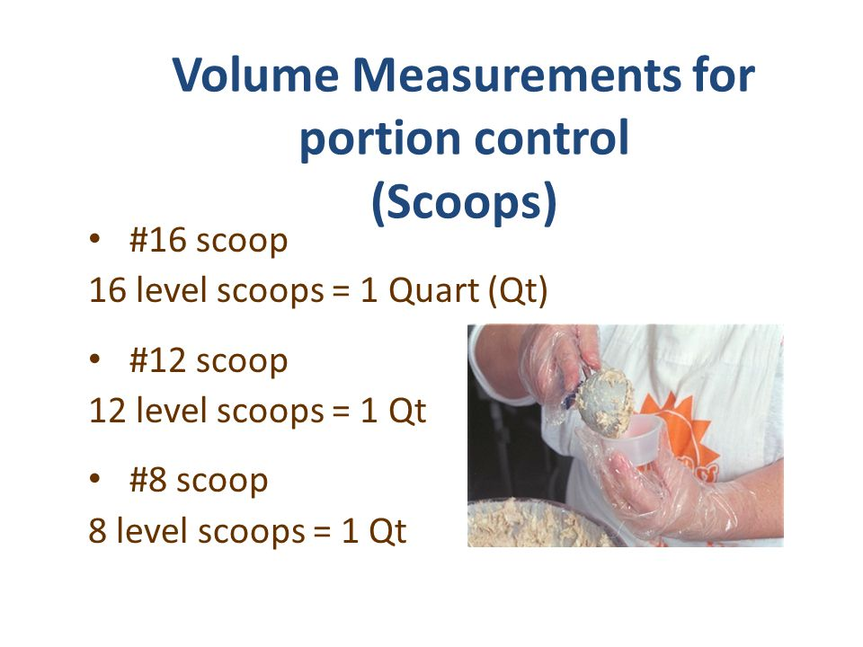 Volume Measurements for portion control (Scoops)