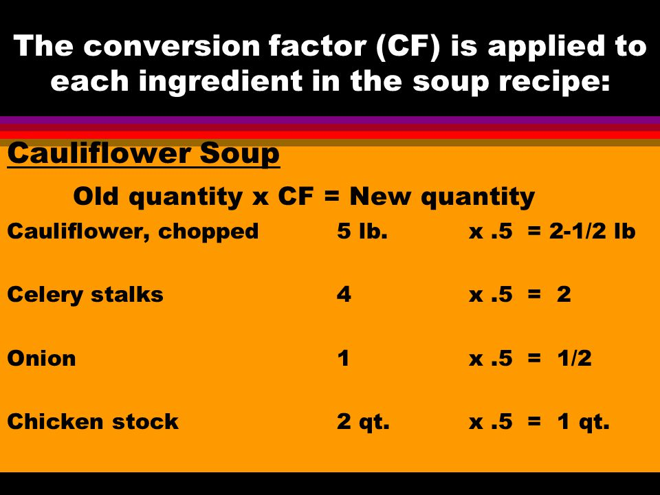 Old quantity x CF = New quantity