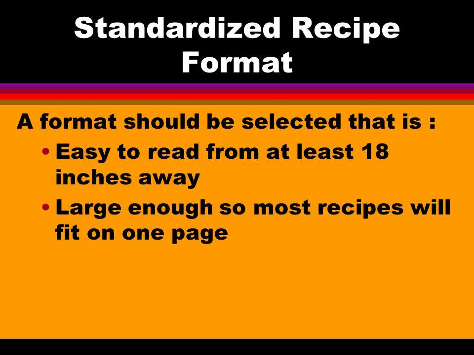 Standardized Recipe Format