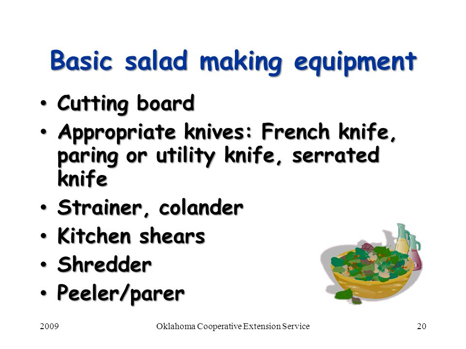 Basic salad making equipment