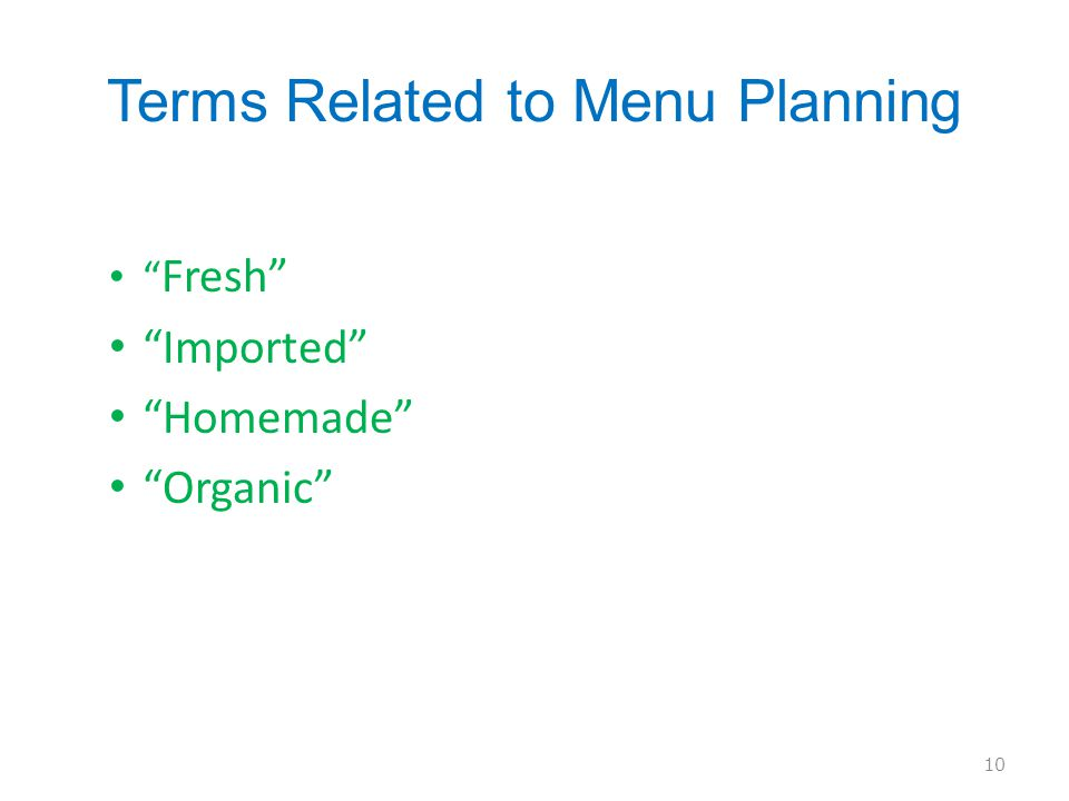 Terms Related to Menu Planning