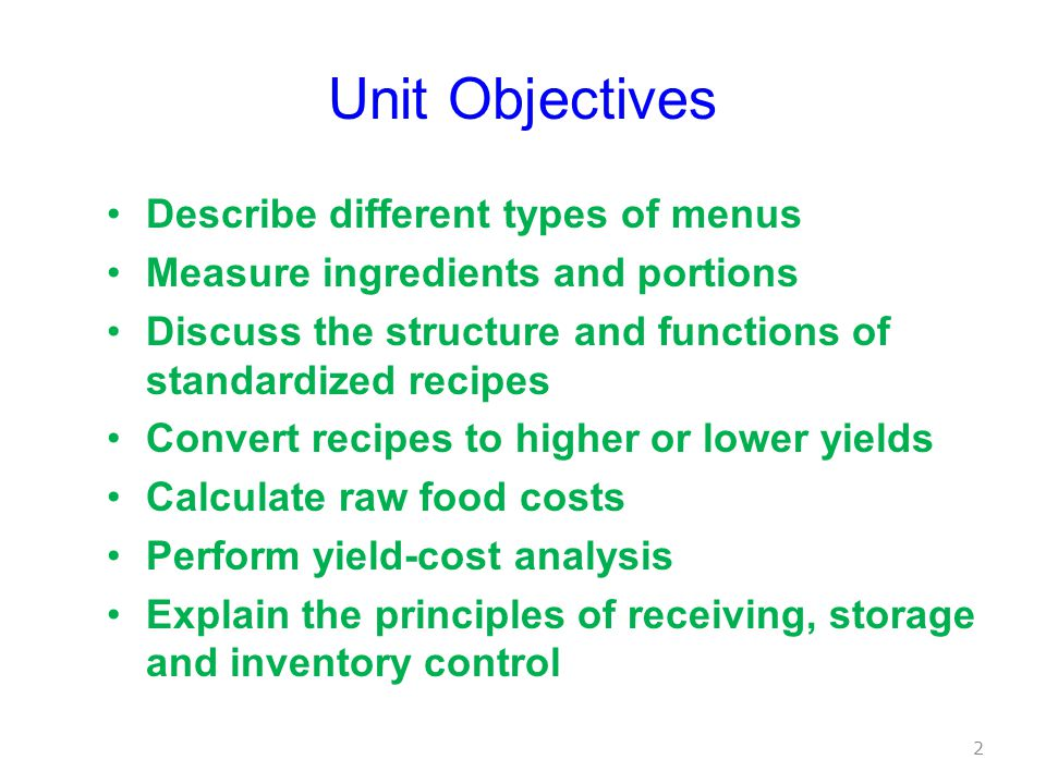 Unit Objectives Describe different types of menus