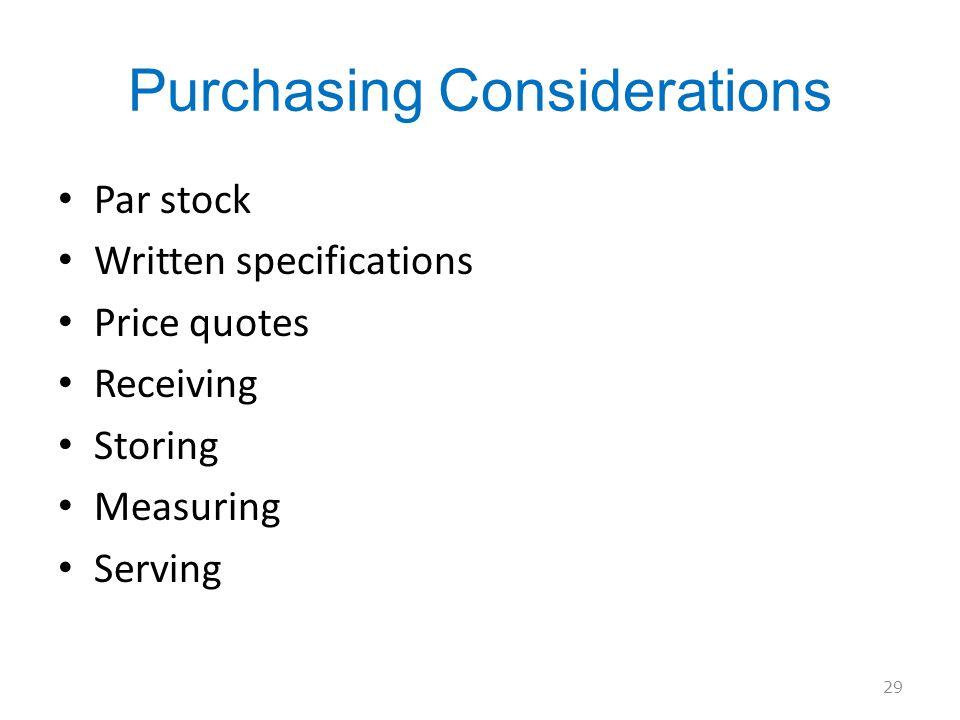 Purchasing Considerations