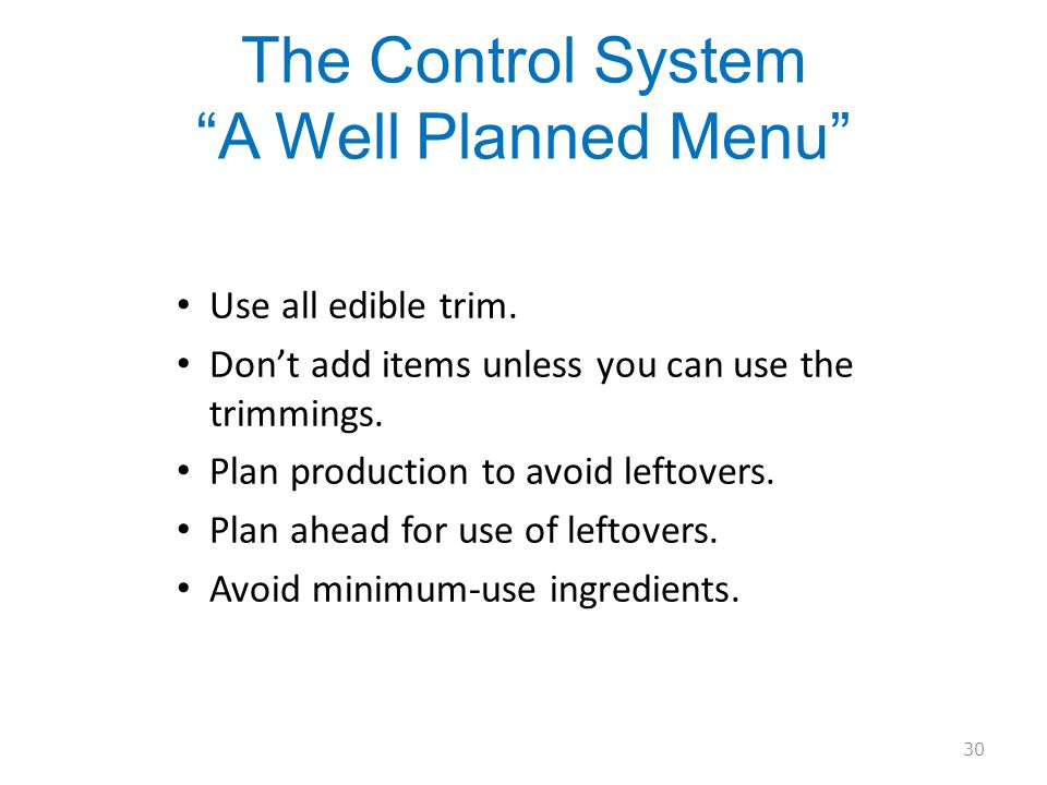 The Control System A Well Planned Menu