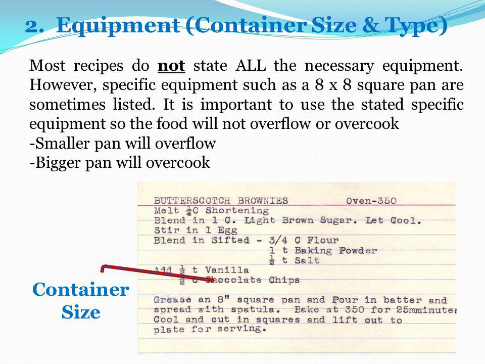 2. Equipment (Container Size & Type)
