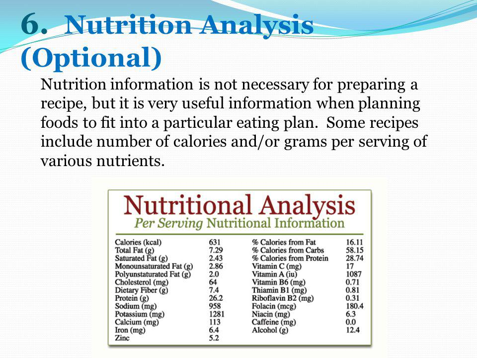 6. Nutrition Analysis (Optional)