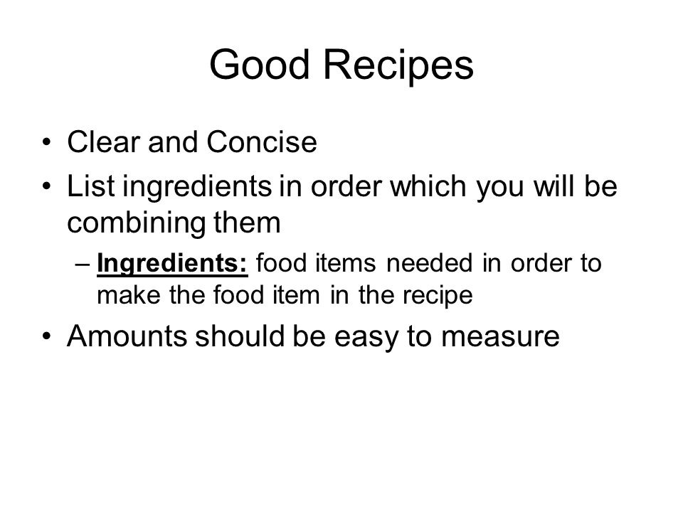 Good Recipes Clear and Concise
