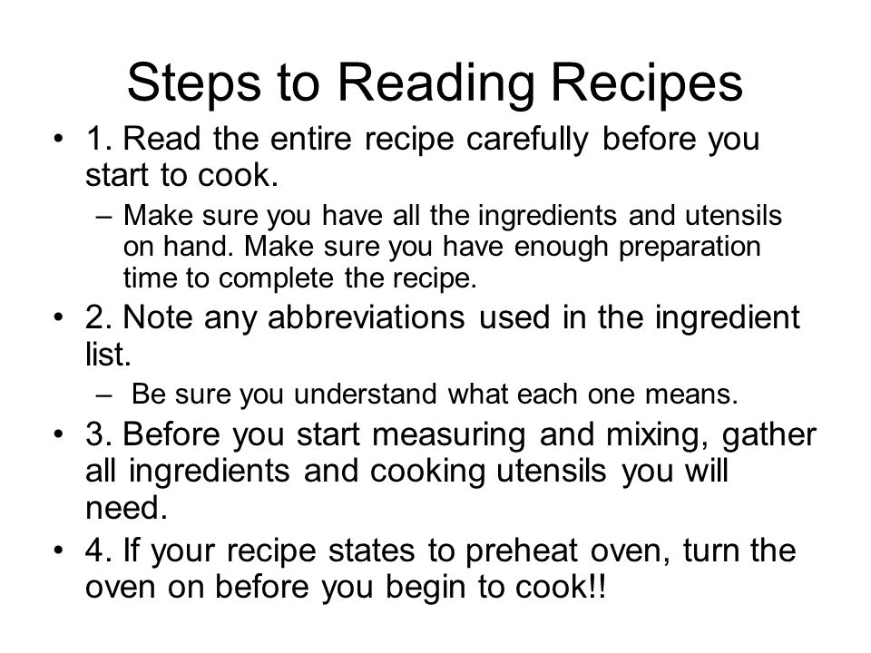 Steps to Reading Recipes