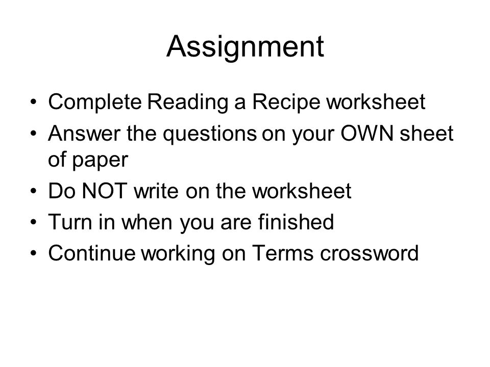 Assignment Complete Reading a Recipe worksheet