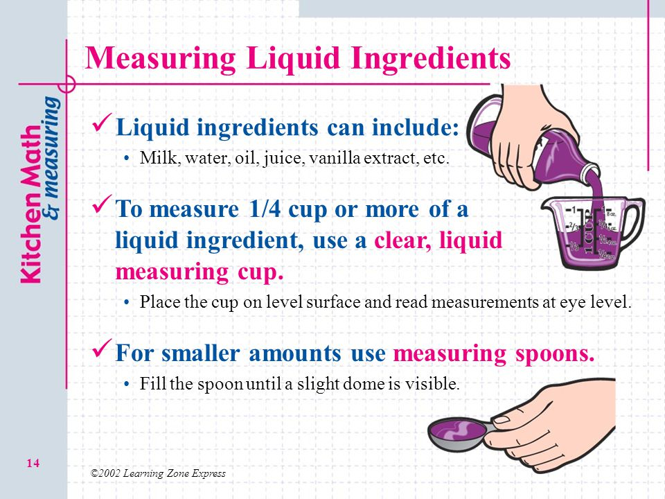 Measuring Liquid Ingredients
