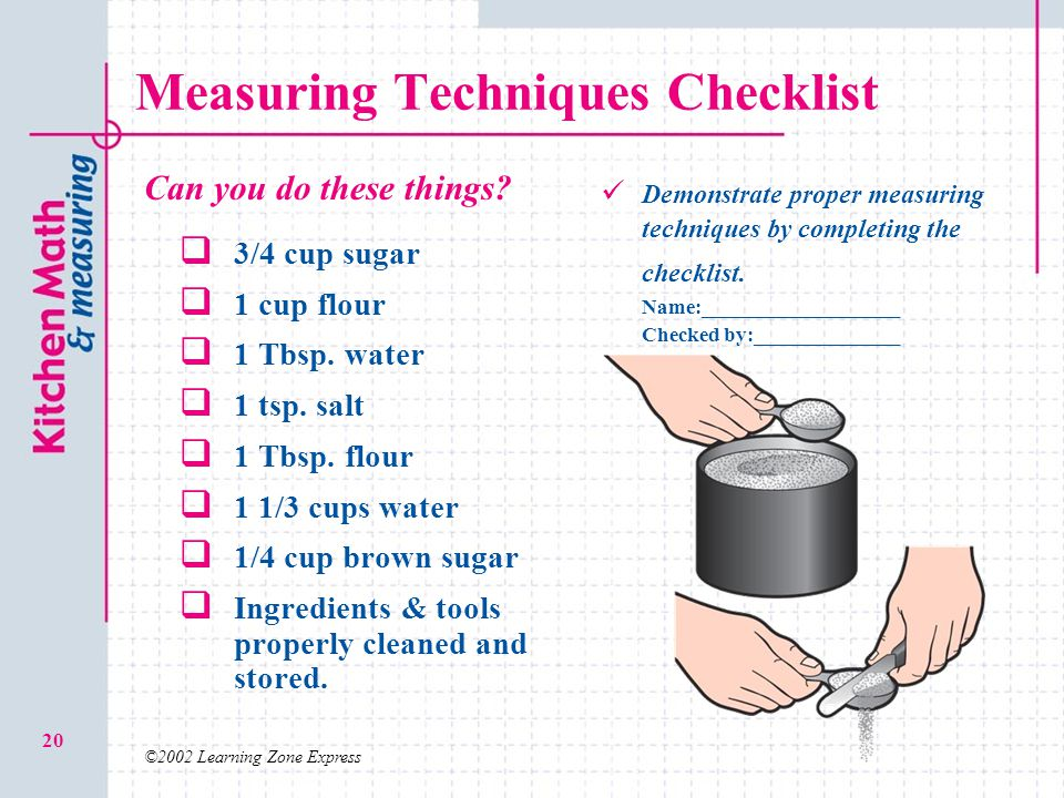 Measuring Techniques Checklist