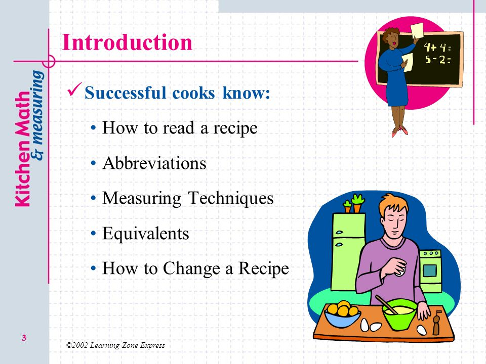 Introduction Successful cooks know: How to read a recipe Abbreviations