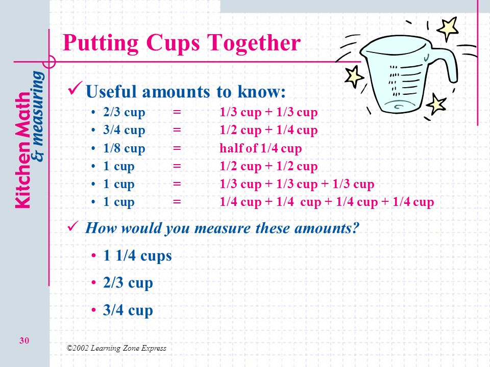 Putting Cups Together Useful amounts to know: