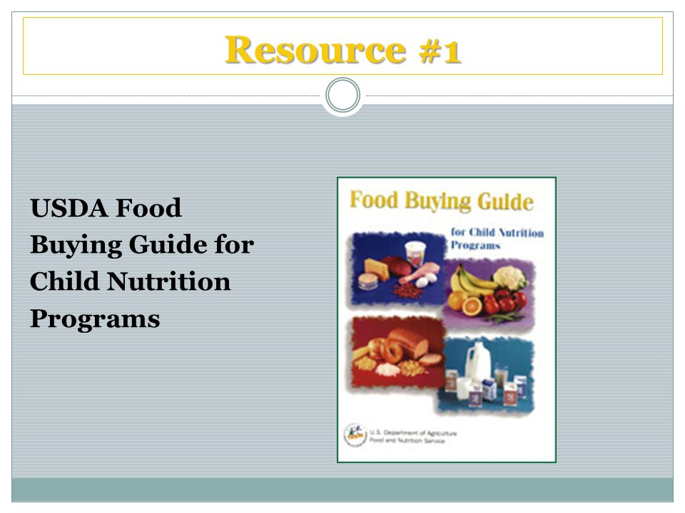Resource #1 USDA Food Buying Guide for Child Nutrition Programs