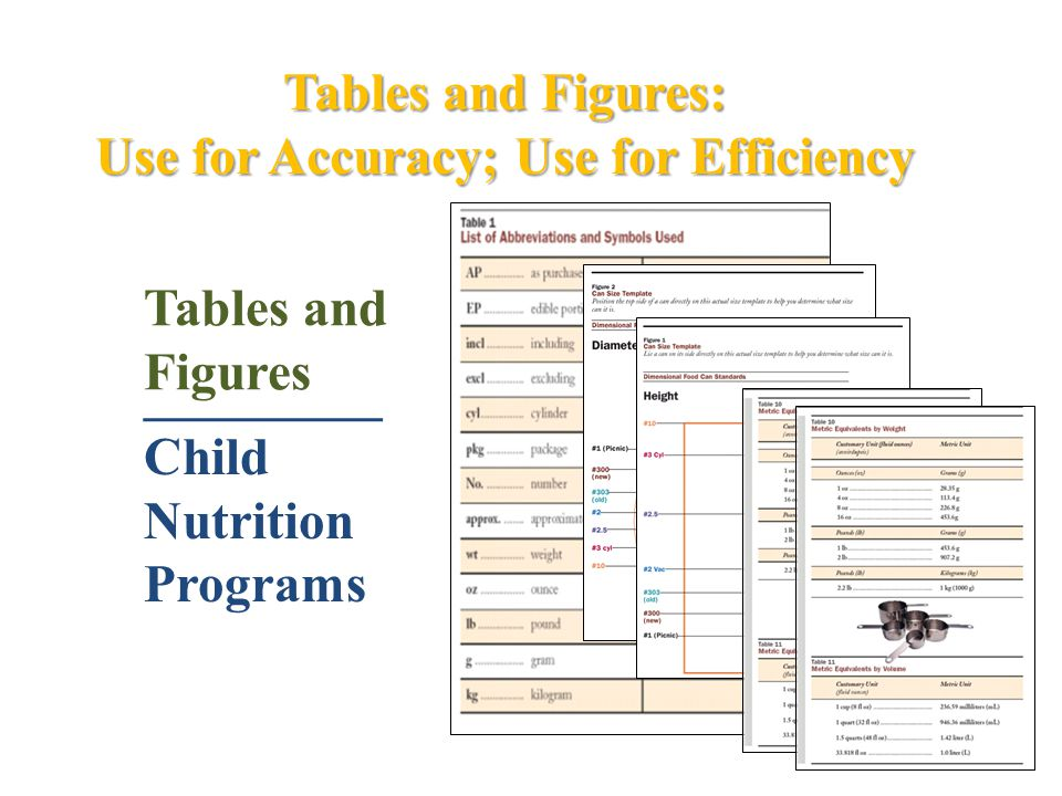 Tables and Figures: Use for Accuracy; Use for Efficiency