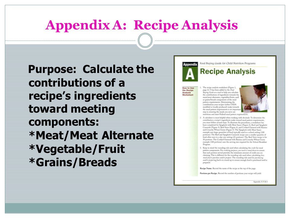 Appendix A: Recipe Analysis