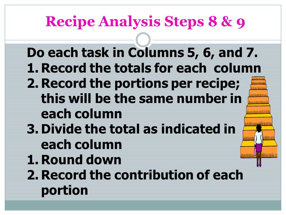 Recipe Analysis Steps 8 & 9