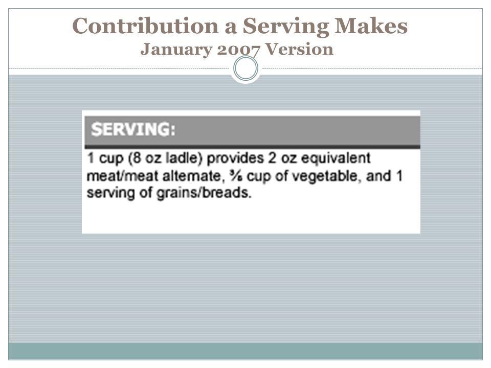 Contribution a Serving Makes January 2007 Version