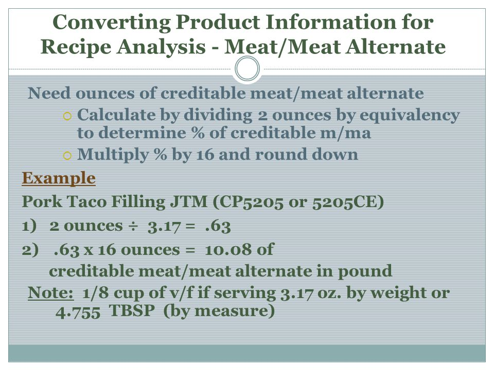Converting Product Information for Recipe Analysis - Meat/Meat Alternate