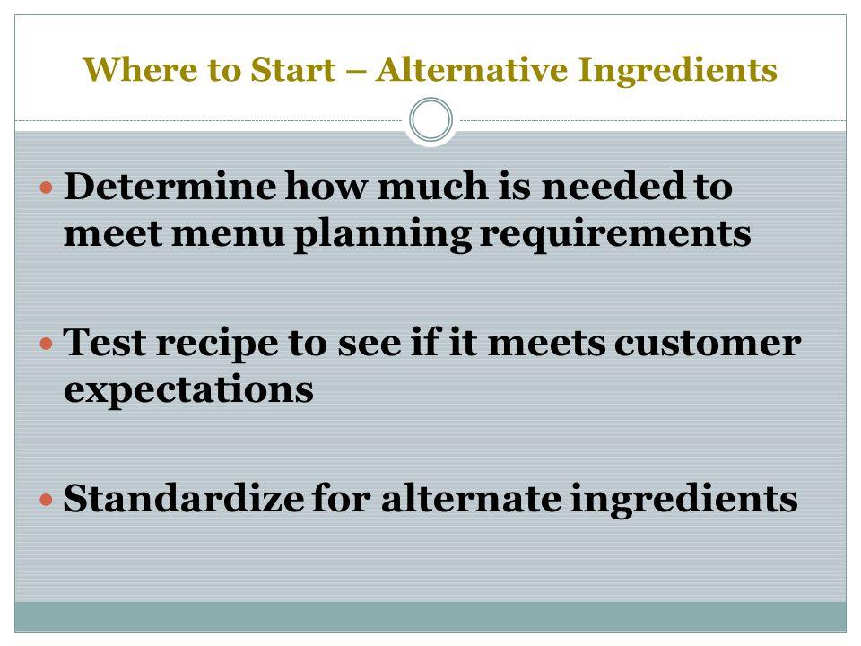 Where to Start – Alternative Ingredients