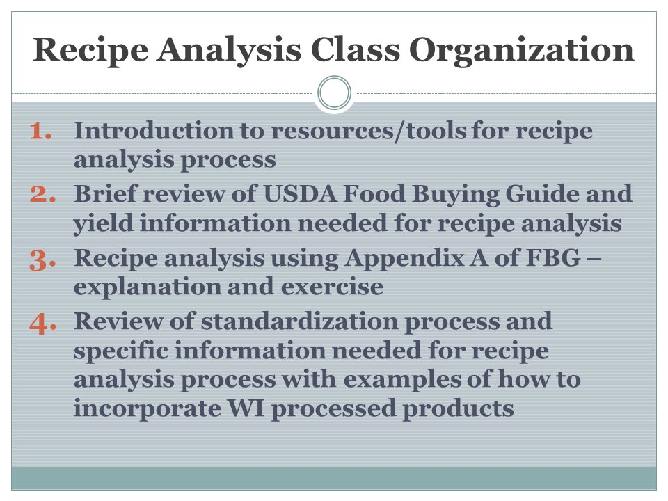 Recipe Analysis Class Organization