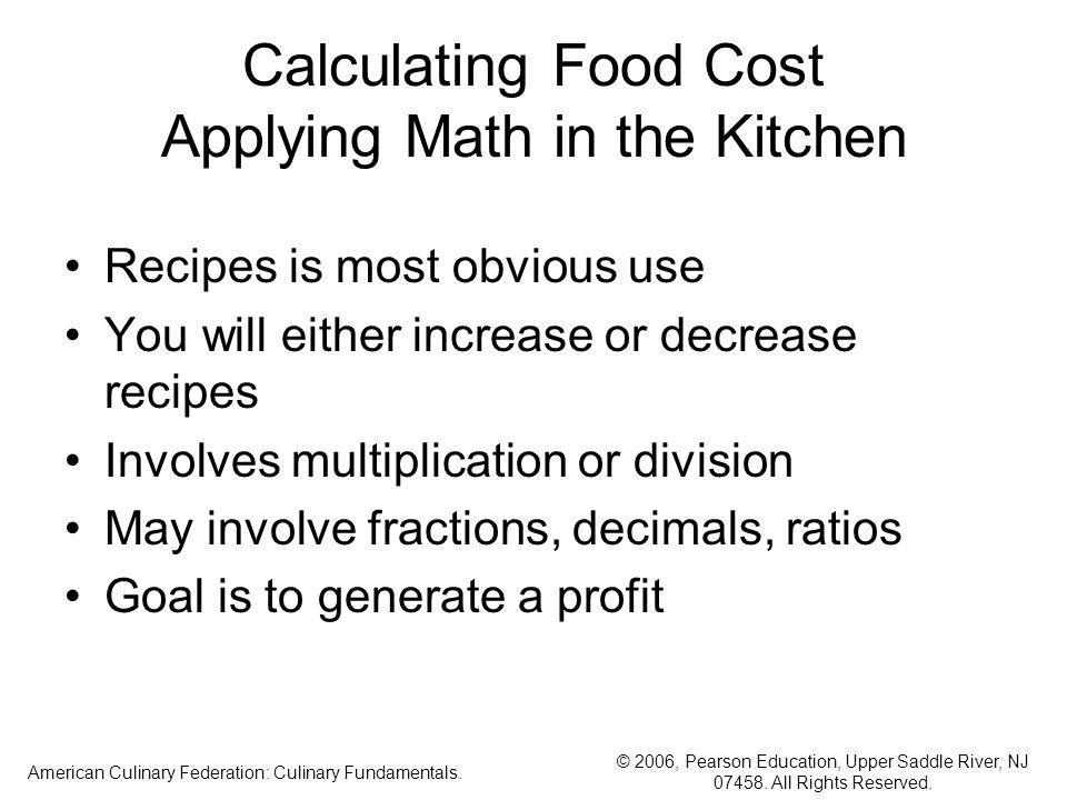 Calculating Food Cost Applying Math in the Kitchen