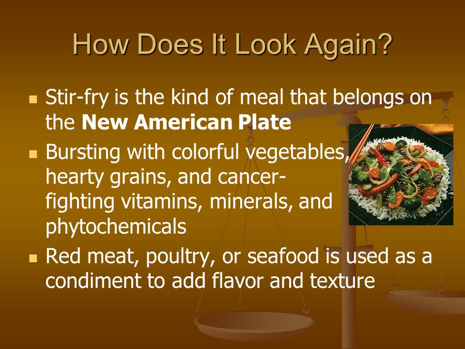 How Does It Look Again Stir-fry is the kind of meal that belongs on the New American Plate.