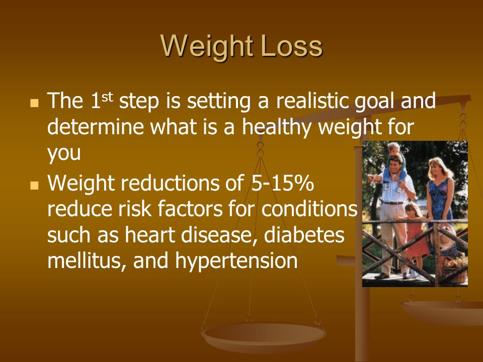 Weight Loss The 1st step is setting a realistic goal and determine what is a healthy weight for you.